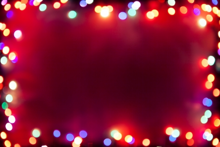 christmas backdrop: purple bokeh lights frame Stock Photo