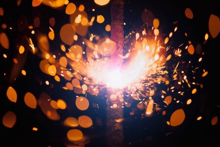 schittering: Kerst sparkler met glanzende glans Stockfoto
