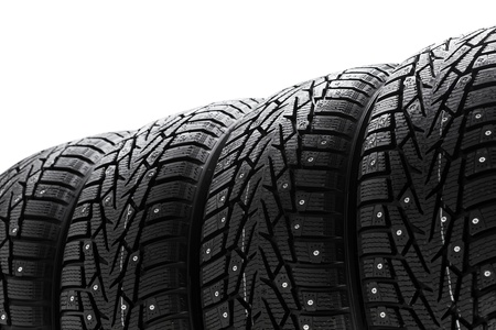 winter tires set with copy-space photo