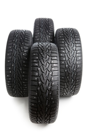 winter tyre: winter wheels set isolated on white