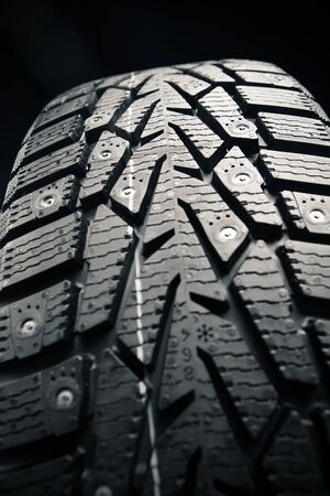 vulcanization: protector of winter tire, close-up view