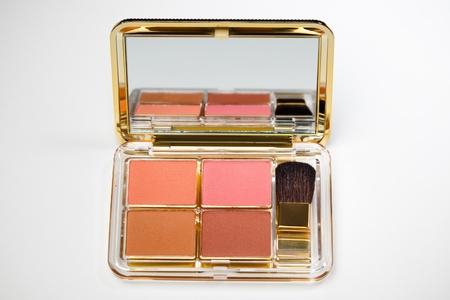 makeup kit on white background photo