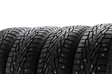 winter tires: winter tires set with copy-space Stock Photo