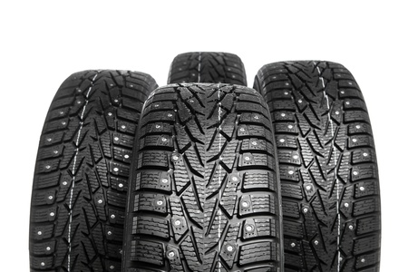 winter tires set isolated on white photo
