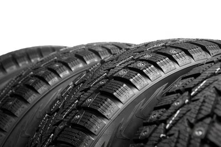 winter tires part isolated on white photo