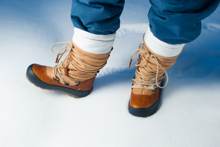 winter shoes in snow, close-up photo