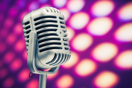 microphone retro on purple disco background photo
