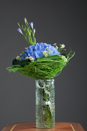 bouquet of blue hydrangea flowers photo