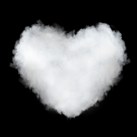 steam jet: heart shaped cloud isolated on black