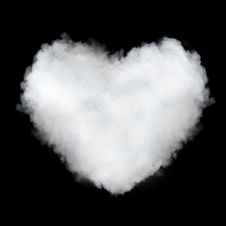 heart burn: heart shaped cloud isolated on black