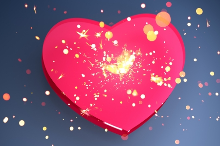 pink heart shape with sparks photo