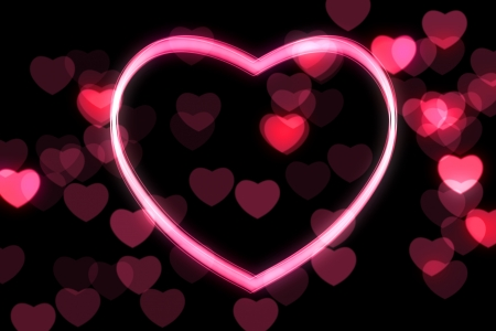 glowing heart shape with bokeh lights photo