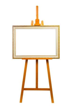 easel with painting frame, isolated on white photo