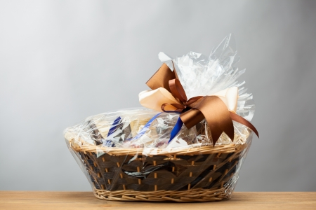 gift in a basket, grey background Фото со стока - 19427223