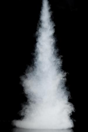 smoky black: white smoke trail isolated on black