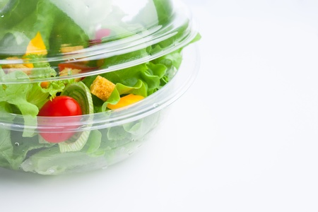 fresh vegetables salad in plastic container Stock Photo