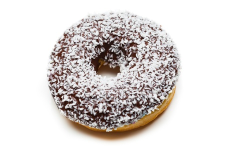 coconut sugar: tasty chocolate donut, isolated on white