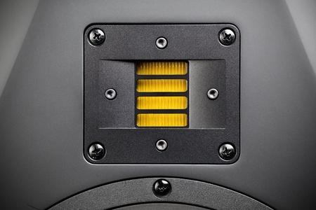 tweeter: yellow tweeter - high-frequency loudspeaker, closeup Stock Photo