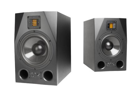 audio speakers, isolated on white photo