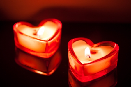 candle flame: burning candle hearts