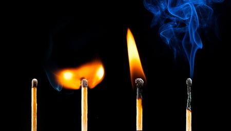igniting: life of matches: new, igniting, burning and extinguishing