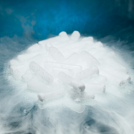 vapor: dry ice with vapor on blue background