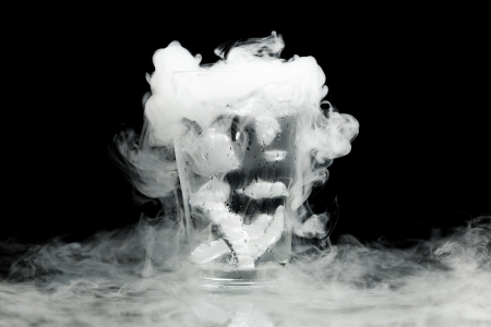 vapor: glass of water with ice vapor Stock Photo