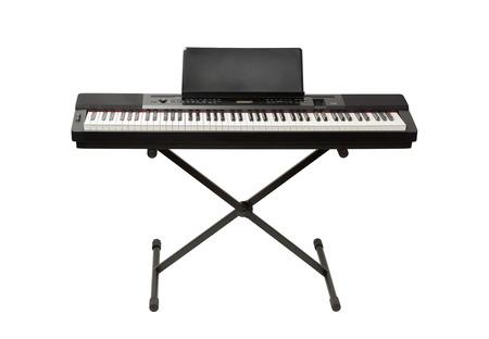 klawiatura: pianino cyfrowe syntezator na białym Zdjęcie Seryjne
