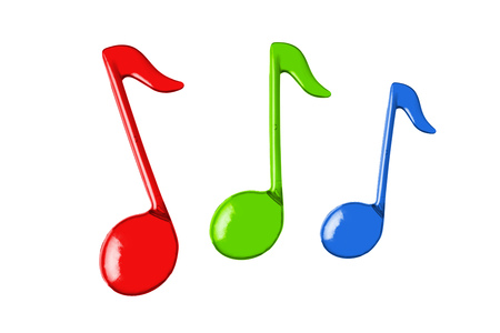 three color music notes, isolated on white Stock Photo - 24213315