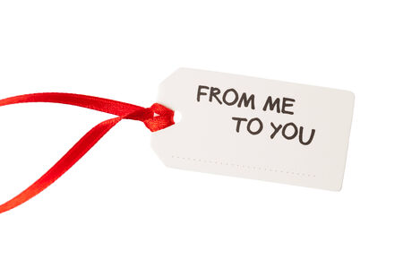 gift tag with text, isolated on white photo