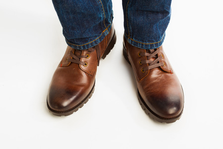 brown leather shoes on white background photo