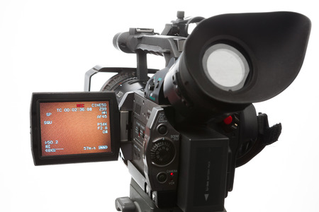 live action: video camera with screen, isolated on white Stock Photo