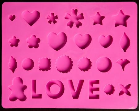 saint valentines: San Valentino icone rosa, modello di cottura Archivio Fotografico