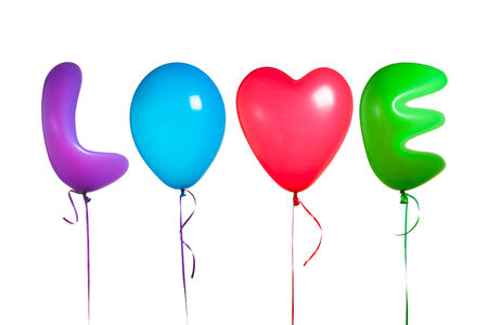 love text shaped color balloons, isolated on white photo