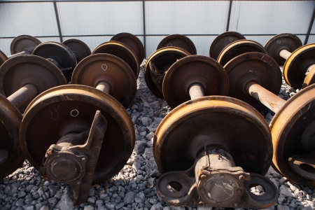 discarded metal: train wheels for metal recycling