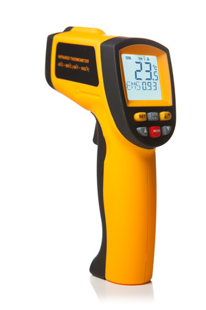 digital thermometer: infrared laser thermometer isolated on white Stock Photo