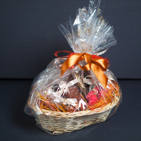 gift basket against grey background photo