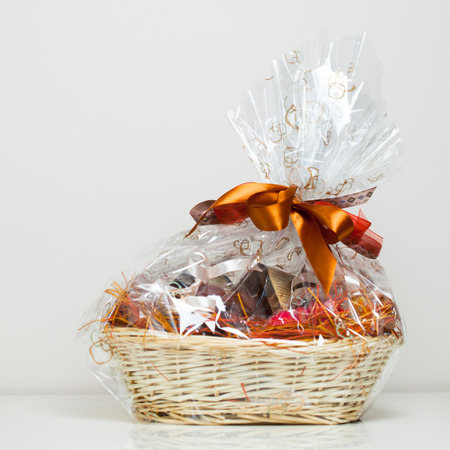 gift basket against grey background Фото со стока - 27257187