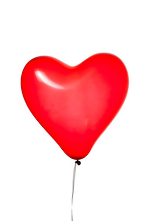 saint valentine: heart shaped red balloon, isolated on white