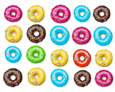tasty colorful donuts background, isolated on white 版權商用圖片