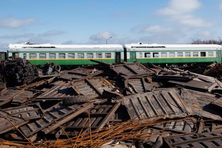 train at the metal scrap yard