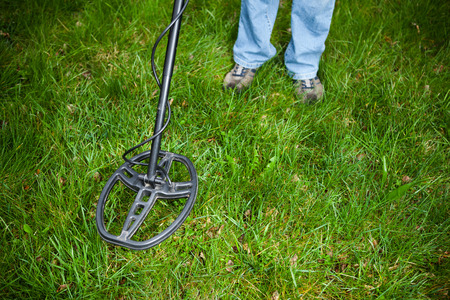metal detector: searching for a precious metal with a metal detector