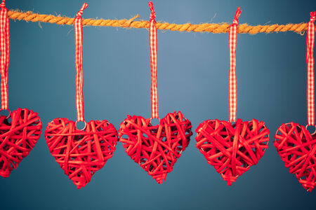 saint valentine: decorative valentine hearts on blue background
