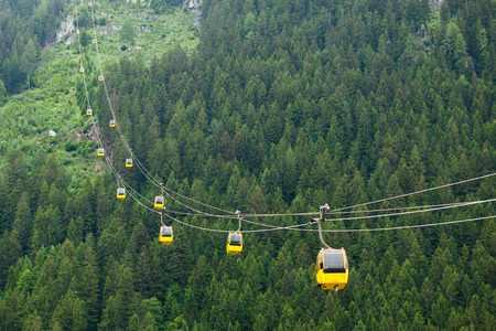 cableway: The Alps mountains cableway, forest