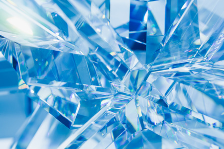 refractions: abstract blue background of crystal refractions Stock Photo