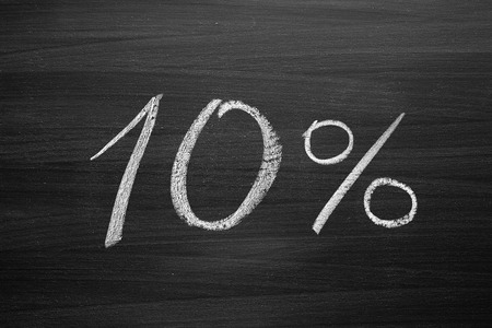 10-percent header written with a chalk on the blackboard photo