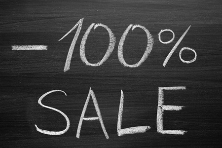 合計: 100-percent sale title written with a chalk on the blackboard 写真素材