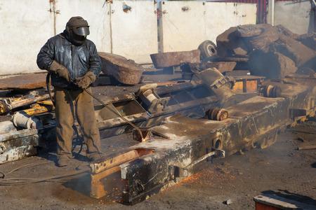 scrap metal gas welding for refining photo