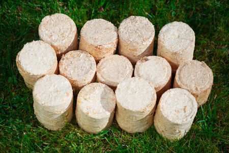 gass: wooden pellets on green grass background Stock Photo