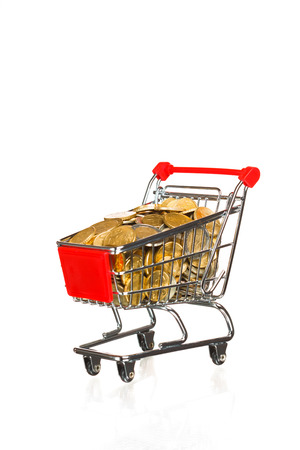 shopping cart full of money, isolated on white photo